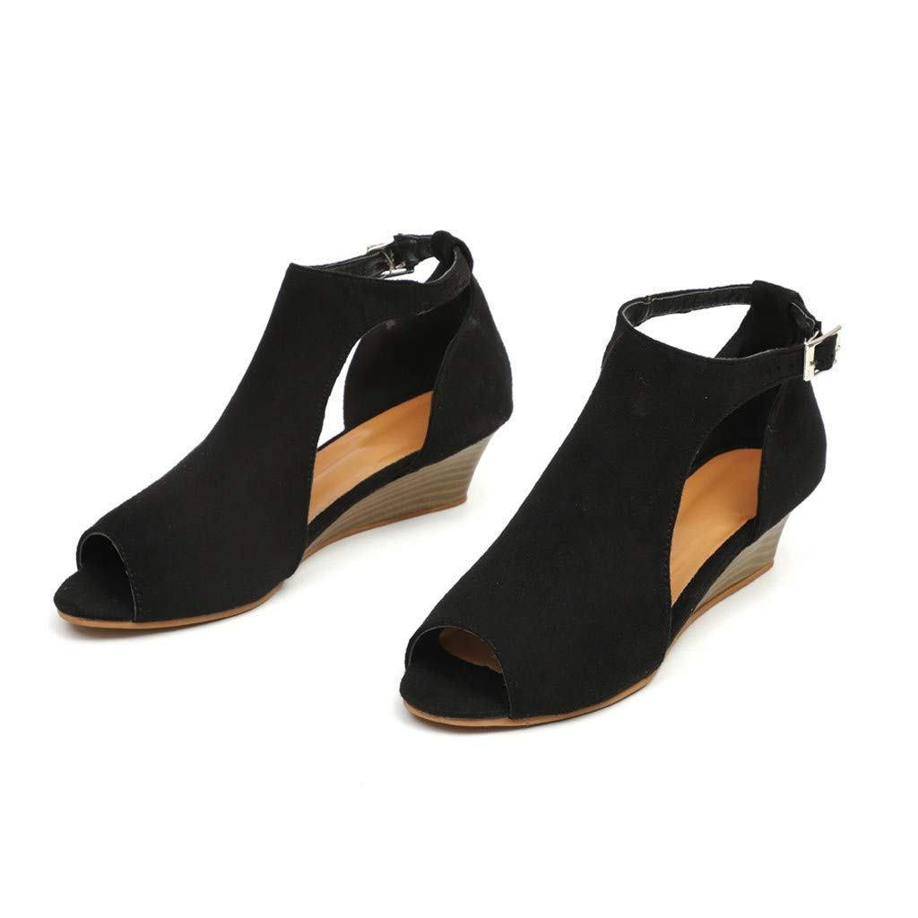 69f9ba2d10607 Amazon.com: Kenvina Bohemian Sandals for Women Fashion Solid Wedges ...