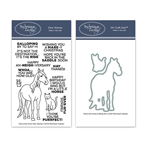 Hanna The Horse Clear Stamps with Matching Metal Dies | Clear Rubber Stamps | Photopolymer Stamps | Die Cuts | Craft Dies | Card Making Supplies