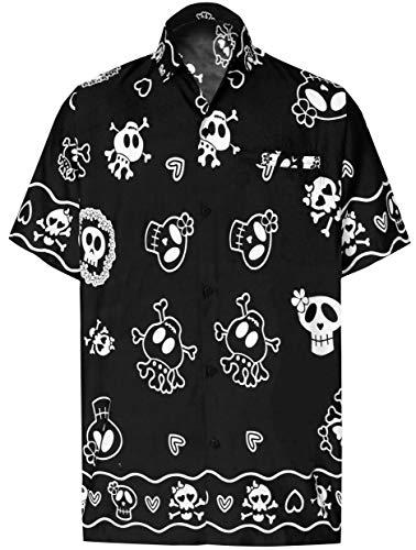 LA LEELA Beach Aloha Short Slevee Hawaiian Button Down Shirts Men Black_W188 - Button Shirt Front Skull Mens