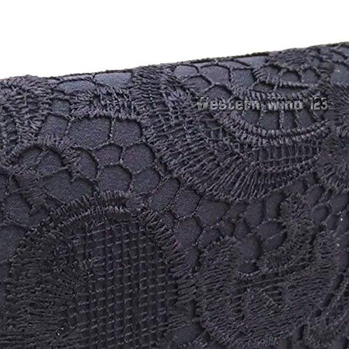 evening fashion prom lace Black satin black navy wedding bridal TM handbag red cream satin lace Wocharm clutch bag Ladies 6ZwnvqpWH