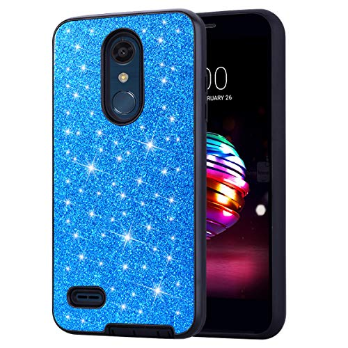 (DAMONDY LG K30 Case,LG Premier Pro Case,LG Phoenix Plus Case, Shockproof Glitter Women Girls 2 in 1 Shiny Bling Hybrid Bumper Soft Gel TPU Protective Phone Case Cover for LG K10 2018-blue)