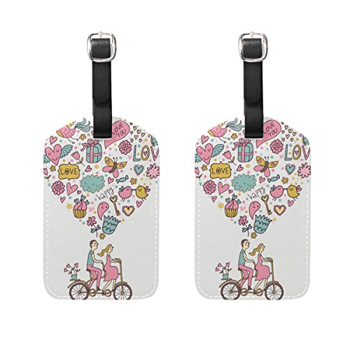 Top Carpenter 2 Packs Couple Tandem Bicycle Luggage Hand-bag Claim Baggage ID Tag Travel Identifier Suit-case Label - Leather by by Top Carpenter
