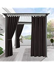 RYB HOME Outdoor Indoor Blackout Curtains for Patio TAB TOP Outdoor Curtain Drapery