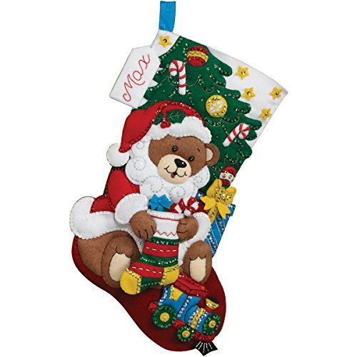 (Bucilla 18-Inch Christmas Stocking Felt Applique Kit, 86503 Teddy Bear Santa)