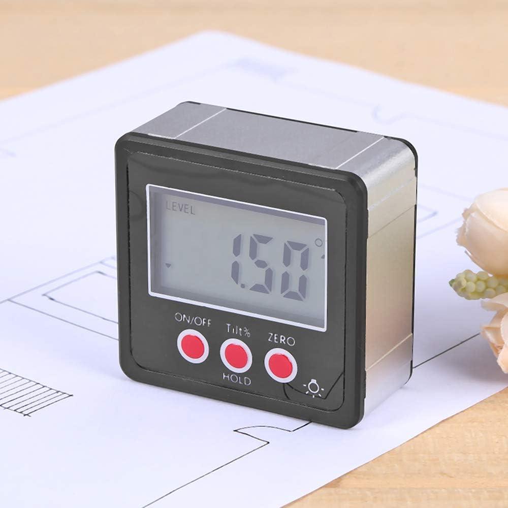 Tickas Digital Angle Meter, Horizontal Angle Meter Digital Protractor Inclinometer Electronic Level Box Magnetic Base Measuring Tools Black