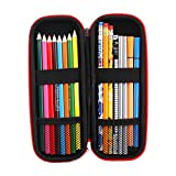 iDream365(TM) Pencil Case Holder Bag,Hard Eva Carrying Storage Case/Bag/Pouch/Holder for Pencils,Stylus pens,Ball Pens,Executive Fountain Pens-Black/Red