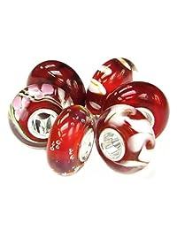 Sterling Silver Crimson Red White Bundle Glass Bead For European Chamilia Biagi Troll Pandora Charm Bracelets