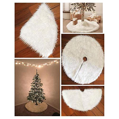 Decoración del árbol de Navidad Blanco Felpa Faldas Alfombra Feliz ...