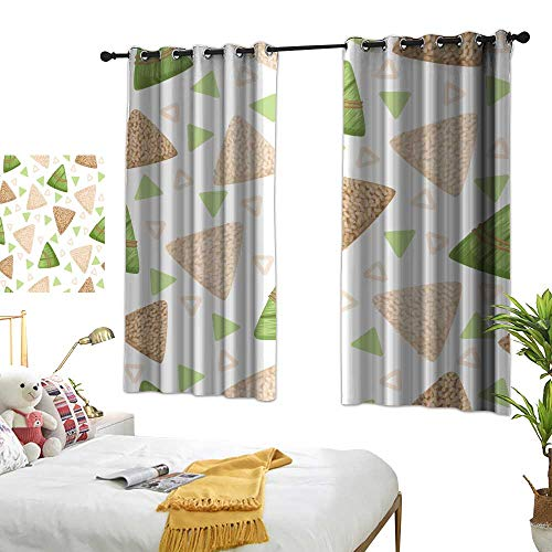 - wwwhsl Personality Creative Bedroom 90% Blackout Curtains Rice Dumpling with Bamboo Leaf Seamless Pattern Rice Dumpling Festival Vector Illustrations Warm Home Designs W96.4 xL72