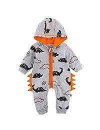 Vinjeely Baby Boys Girls Grey Long Sleeves Hooded 3D Dinosaur Romper Outfits
