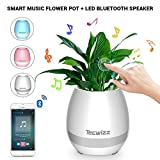 Christmas Gift - Smart Music Flowerpot, LED Flowerpot Smart - Touch Music Plant Lamp with Wireless Bluetooth Speaker Piano, Music Playing Flower Pots, Multi-color LED Night, Light for Bedroom, Office, Living Room (White)
