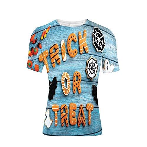 T-Shirt for Men,Cookie Wooden Table Ghost Bat Web Halloween,3D -