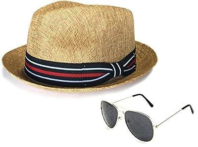 Men's Summer Lightweight Linen Fedora Hat with Aviator Sunglasses, LXL, Brown