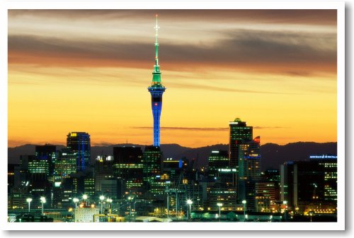 Auckland New Zealand At Dusk - New World Travel Poster
