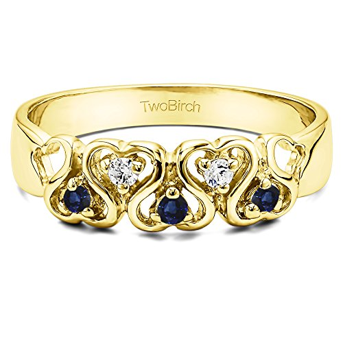 .125CT Diamonds and Sapphire Heart Ring in Yellow Silver(Size 3 to 15, in 1/4 (0.125 Ct Diamond)