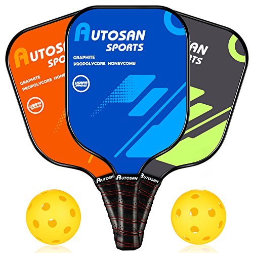 AUTOSAN Pickleball Paddle Graphite - Set with Pickleball Racket & 2 Pickleballs | Pickleball Racquet Lightweight Ultra Cushion Grip USAPA Approved | Carbon Fiber Pickleball Paddle PP Honeycomb Core (Today Moisture Body)