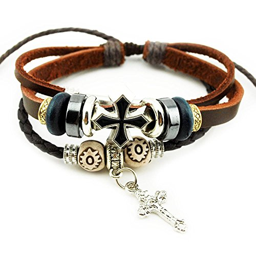 [Victoria Echo Handmade Cross Charm Braided Leather Cuff Wrap Bracelet Brown] (Home Made Video Game Costumes)