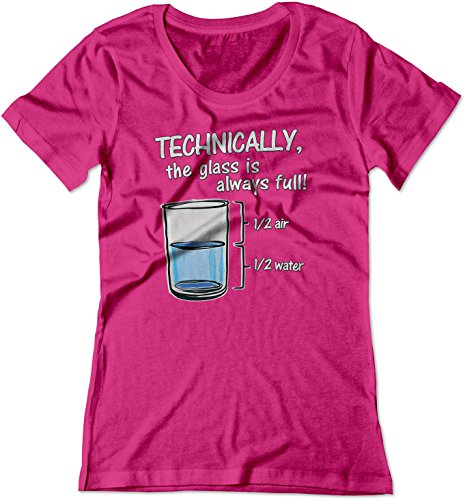 BSW Women's Technically The Glass is Always Full Shirt 2XL Raspberry ()