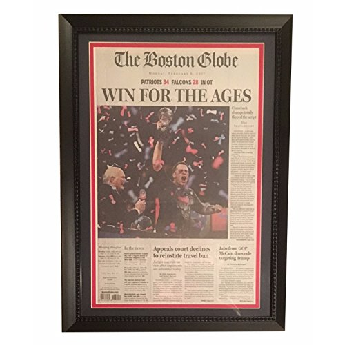 Tom Brady New England Patriots Football Super Bowl 51 LI Boston Globe Framed Newspaper Win For the Ages