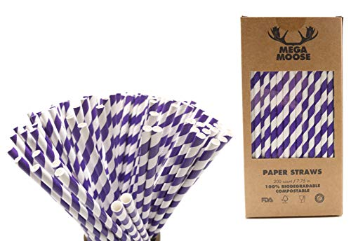 - Mega Moose Biodegradable Paper Straws - 200 ct. Striped Paper Drinking Straws with Ultra Compost - Bulk Paper Straws for Wedding Decorations, Smoothies, Bridal Showers, and Baby Showers (Purple)