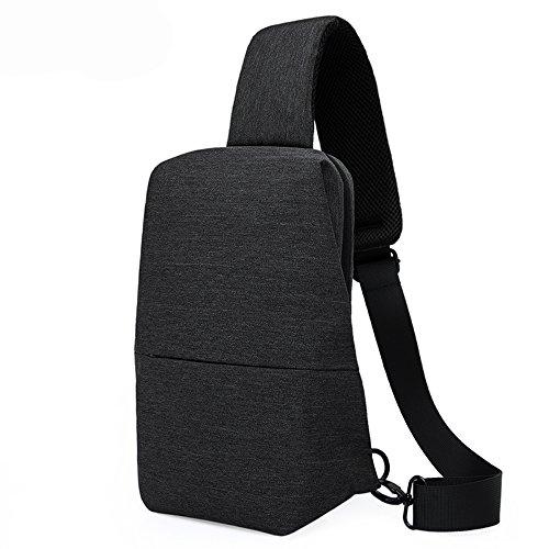 Leisure Sports Shoulder Diagonal Multi-Purpose Outdoor Running Sports Waterproof Pocket Unisex (Color : Black, Size : S)