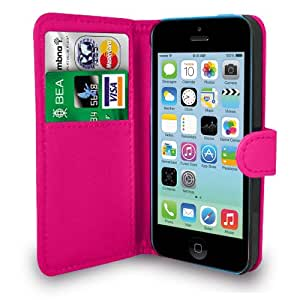 Apple iPhone 5C Hot Pink Leather Wallet Flip Case Cover Pouch + Screen Protector & Polishing Cloth, [Importado de Reino Unido]