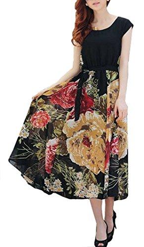 (シント?エム) ShintoM ラウンドネック ショートスリーブ 花柄 プリント シフォン スカート ロング ワンピース