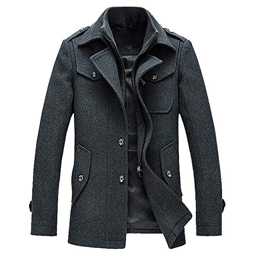 (Koolsants Men's Winter Warm Gentle Layered Collar Single Breasted Quilted Lined Wool Blend Pea Coats)