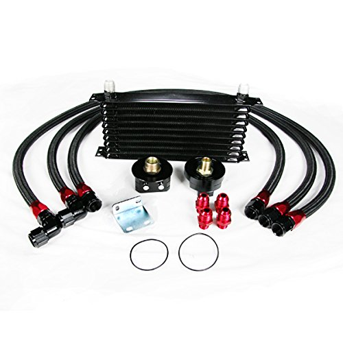 Rev9 Power Universal 10 Row Oil Cooler with Oil Filter Relocation Kit An10 Fitting Aluminum Oil Cooler Black Color