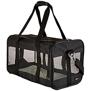 AmazonBasics Large Soft-Sided Mesh Pet Transport Carrier Bag - 20 x 10 x 11 Inches, Black 5