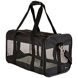 AmazonBasics Large Soft-Sided Mesh Pet Transport Carrier Bag – 20 x 10 x 11 Inches, Black