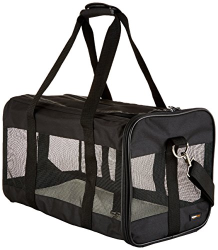 Soft Pet Carrier - AmazonBasics Large Soft-Sided Mesh Pet Transport Carrier Bag - 20 x 10 x 11 Inches, Black