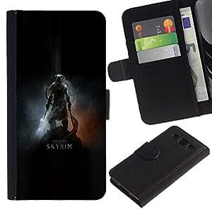 KLONGSHOP // Tirón de la caja Cartera de cuero con ranuras para tarjetas - Dracónido Cartel del guerrero - Samsung Galaxy S3 III I9300 //