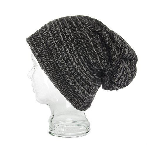Striped Beanie Cap - DG Mens Hill Winter Hat, Slouchy Beanie Hat, Stripped Ribbed Knit Hat, Lightweight Thick, Soft Warm Ski/Skull Cap toboggan Men & Teen Boys, Baggy Work Beanie Skully, One Size, Gray/Black