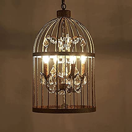 Amazon guorihong sn crystal bird cage chandelier loft guorihong sn crystal bird cage chandelier loft industrial wind european retro bird cage crystal iron chandelier aloadofball