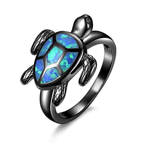 BEMI Elegant Inlaid Opal Tortoise Animal Charm Ring Birthday Gift Party Black Gold Band Rings for Womens 7
