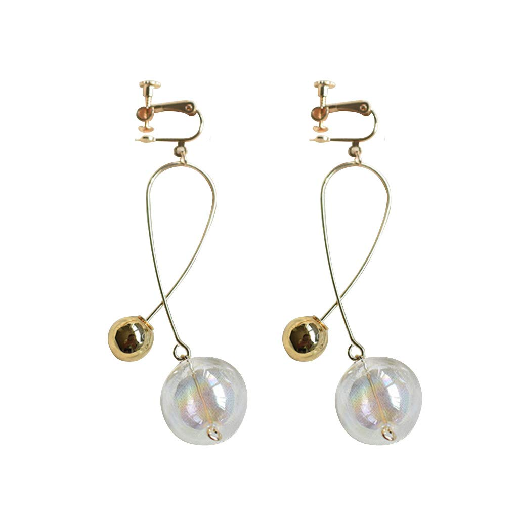 flently Vintage Gold-Plated Glass Transparent Fish Bubble Cross Earrings for Girls Women