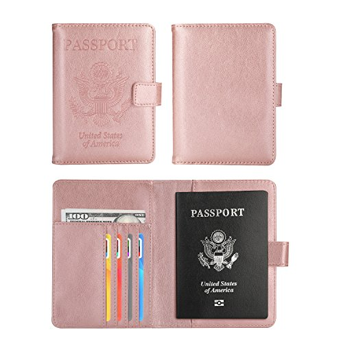 Vivefox Travel Passport Wallet, RFID Leather Passport Holder Cover Id Card Case Organizer (Rose Gold (with Magnet Button))