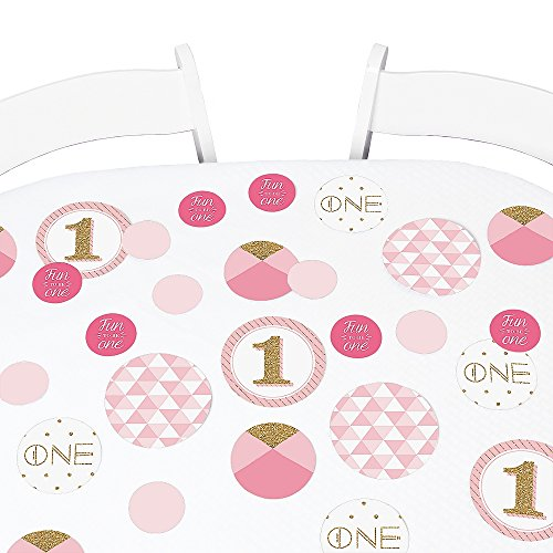 1st Birthday Girl - Fun to be One - Birthday Party Giant Circle Confetti - Party Decorations - Large Confetti 27 Count (Fun Confetti)