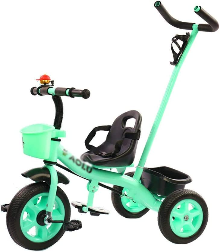 Color : Green LRX Trike Kids Trike Tricycle With Detachable Push Handle 3 Wheel For Baby and Toddler,Children Ride Bike