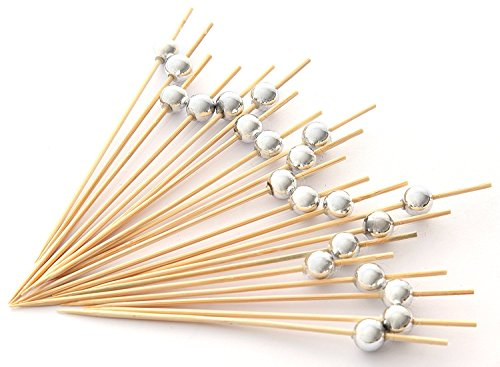 PuTwo Handmade Cocktail Picks 100 Counts Sticks Wooden Toothpicks Party Supplies - Silver - Bar Mary Bloody
