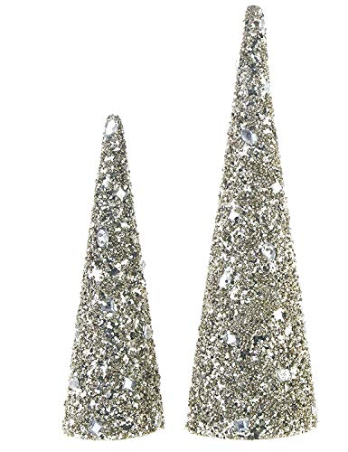 Raz 16 Inch and 12 Inch High Jewelled Cone Christmas Tree Set of 2 - Champagne Gold ()