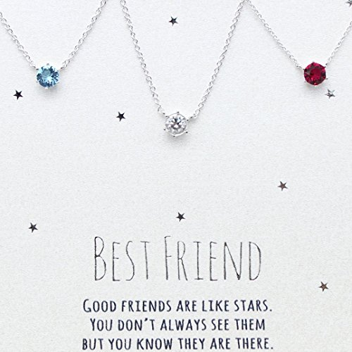 [SWAROVSKI CRYSTAL] Best friends necklace for 3, BFF Necklace, friendship necklace for 3, Silver dainty necklace, birthstone necklace, tiny crystal, dot necklace, birthstone - 3 Stone Jewelry