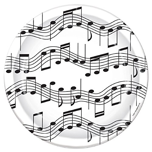 Pack of 96 Dispoable Black and White Musical Notes Dinner Plates -