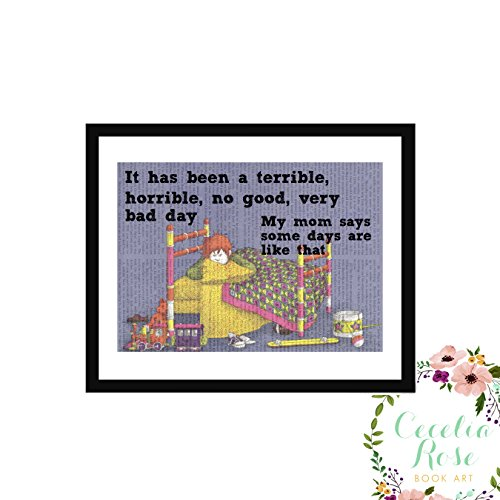 It Has Been A Terrible, Horrible, No Good, Very Bad Day. My Mom Says Some Days Are Like That. Alexander And The Children's Book Art Typography Farmhouse Vintage Book Page Art 9x11 Box Framed Print