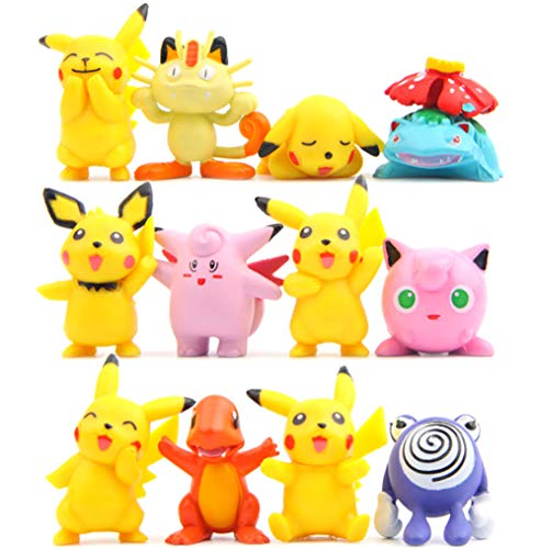 Cake Figurines Kids (Demiwolf Pikachu Go Cake Toppers,Cupcake Toppers Picks for Kids Birthday Party, Baby Shower Cake Decorations for Boy and)