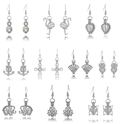 Set Pearl Oval - HENGSHENG 10 Pairs Earrings Locket Cage Dangle Earrings Set with Oval Pearl Inside Pearl Oyster Fitting