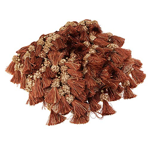 European Style Beaded Tassel Fringe Lace Curtain Sofa Tablecloth Accessories | Color - Red Brown