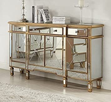 60u201d Euro Mirrored Reflection Andrea Hall Console Gold Trim Cabinet  DH 427 304