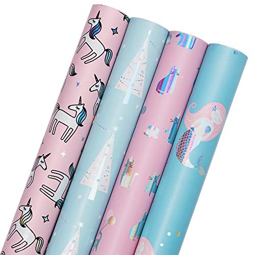 Day Gift Wrap - WRAPAHOLIC Gift Wrapping Paper Roll - Mermaid, Unicorn, Cat and Tree Cute Design with Colorful Foil for Birthday, Holiday, Baby Shower Gift Wrap - 4 Rolls - 30 inch X 120 inch Per Roll